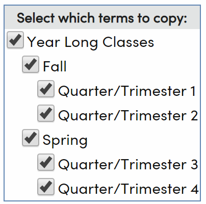 Select which terms to copy
