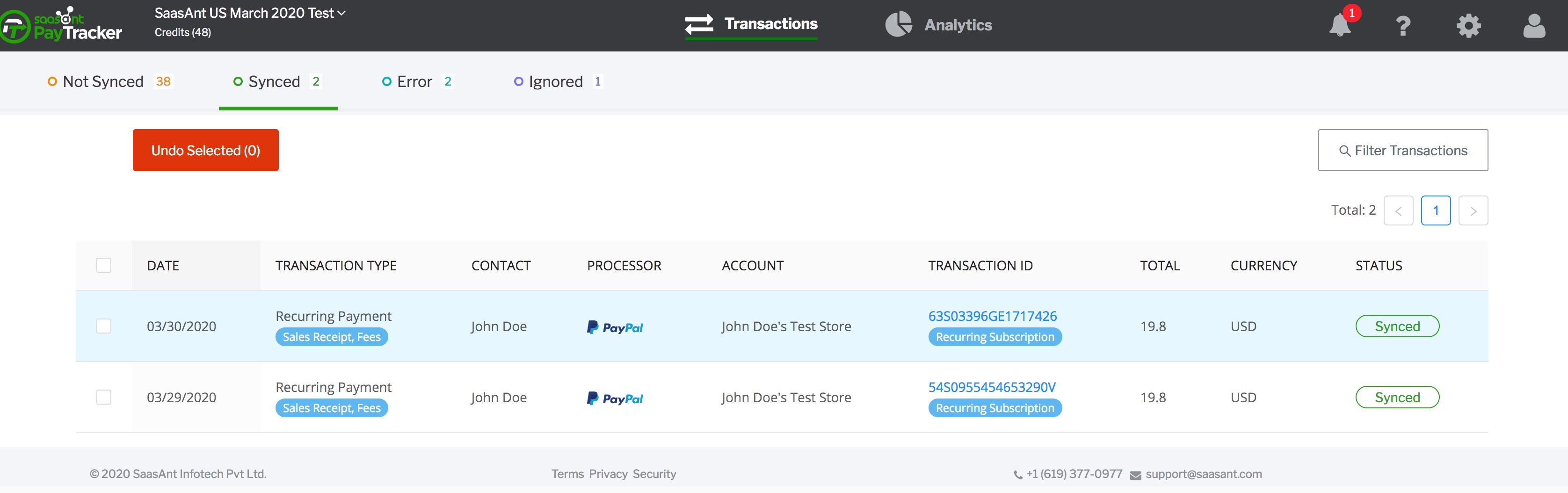 PayTraQer Synced tab