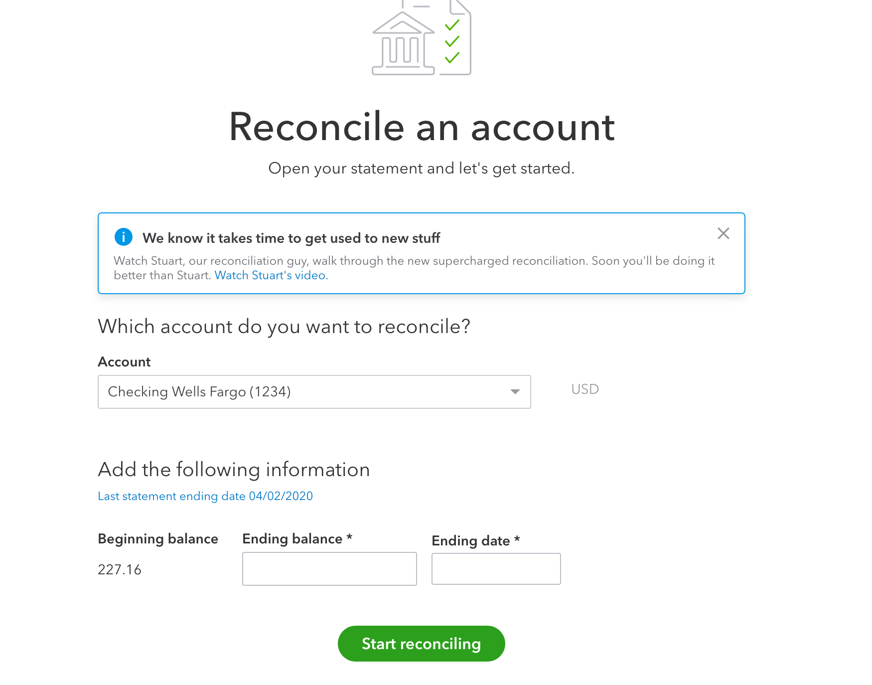 reconcile stripe account