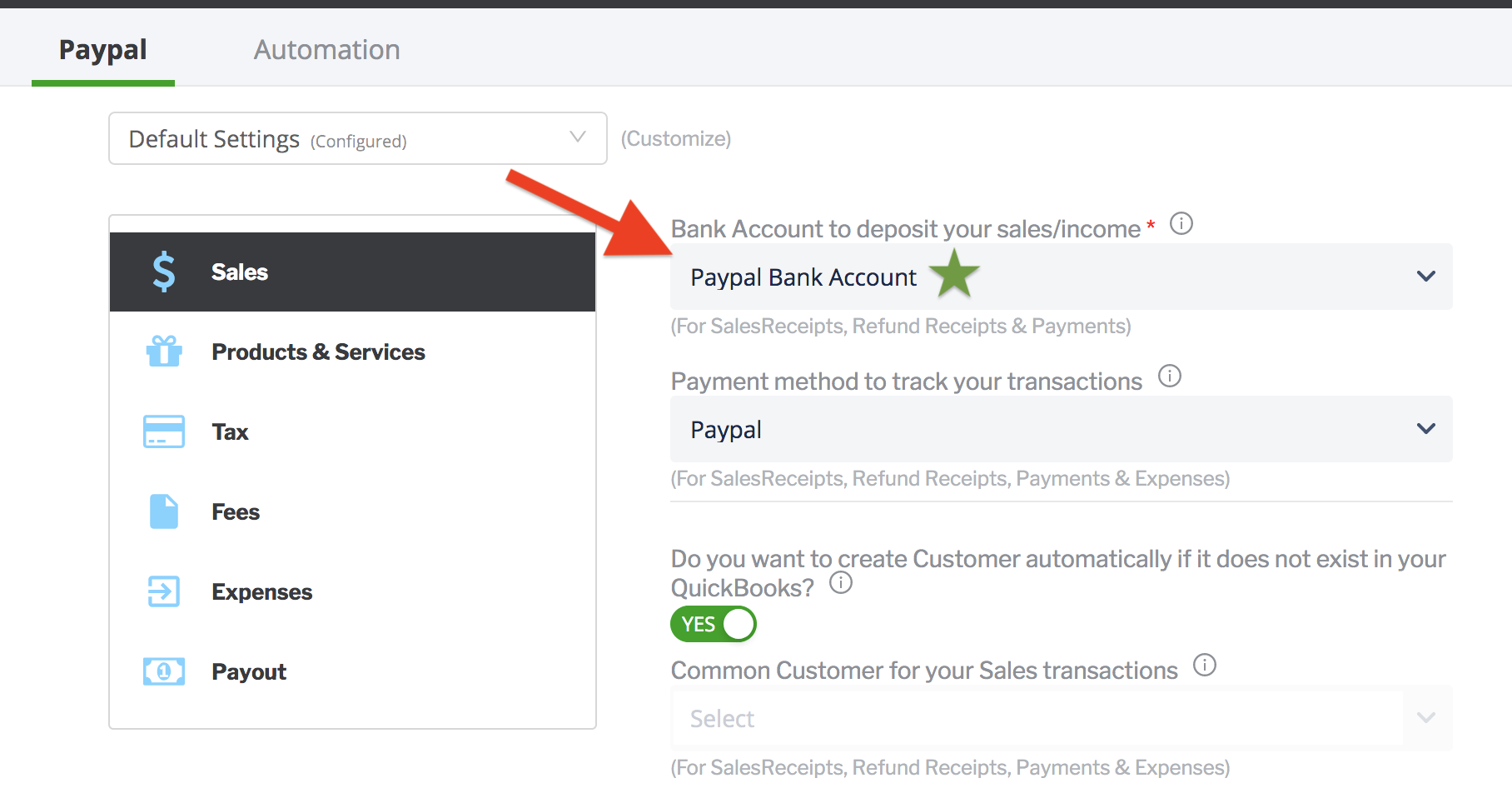 paytraqer paypal sales settings
