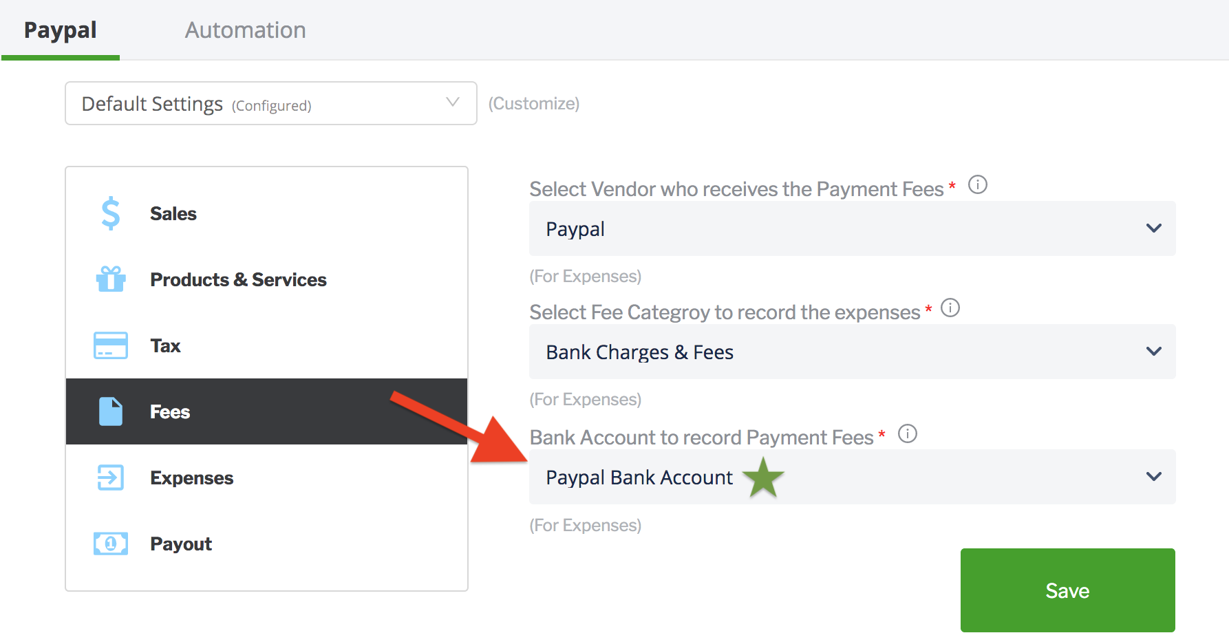 paytraqer paypal fees settings