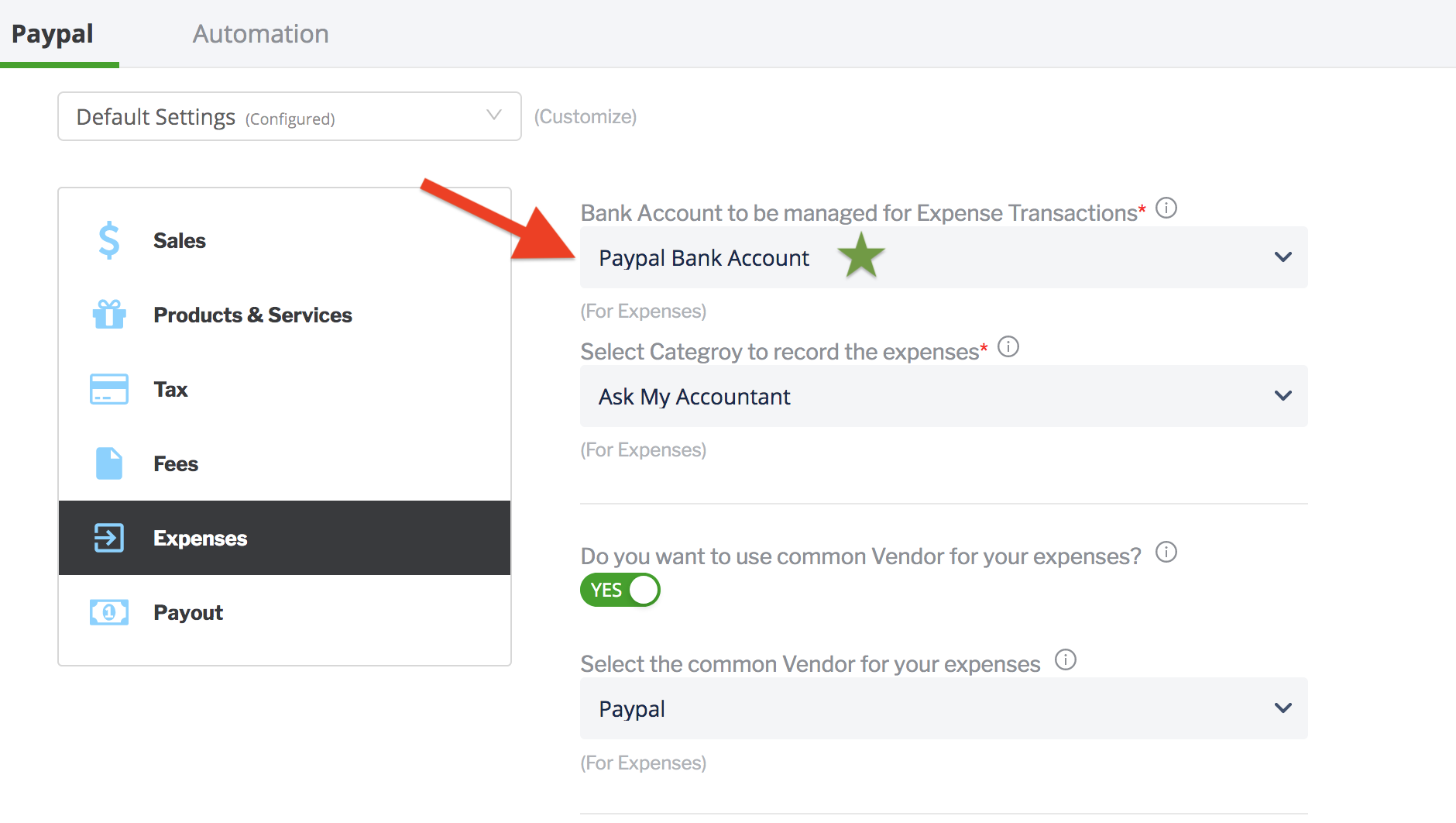 paytraqer paypal expenses settings