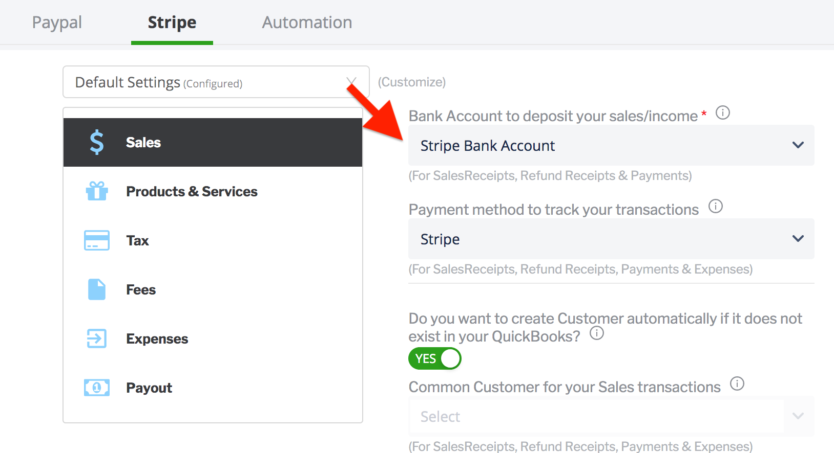 paytraqer Stripe Sales settings