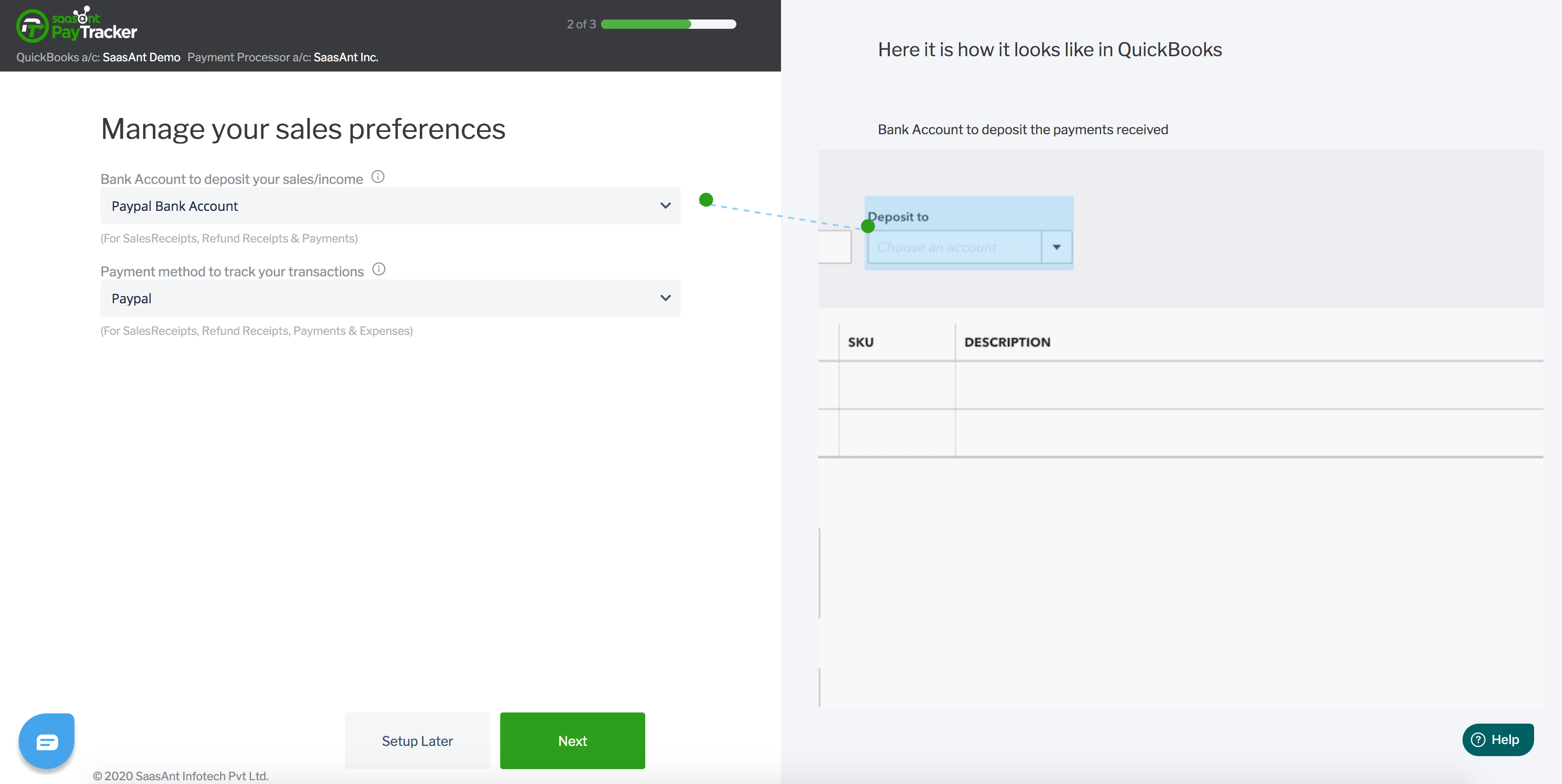 paypal quickbooks sales preference