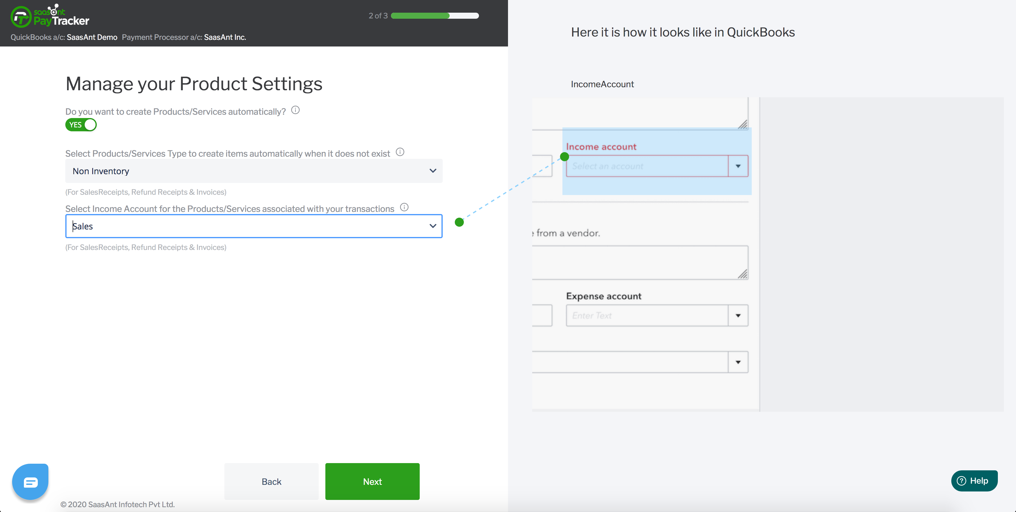 quickbooks paypal product settings