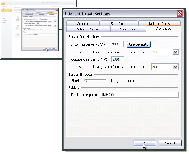 Setting up IMAP and SMTP