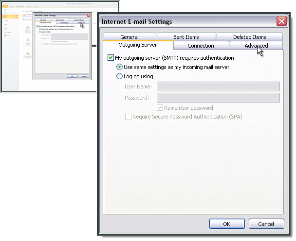 The SMTP-server requires authentication