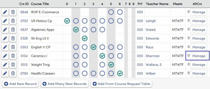 Manage Alternate Course Requests button