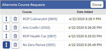 Sorting the priority of Alternate Course Requests
