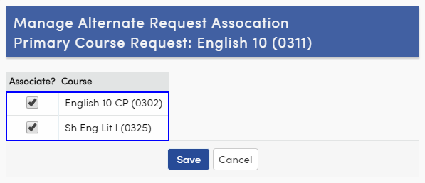 Manage alternate course request association