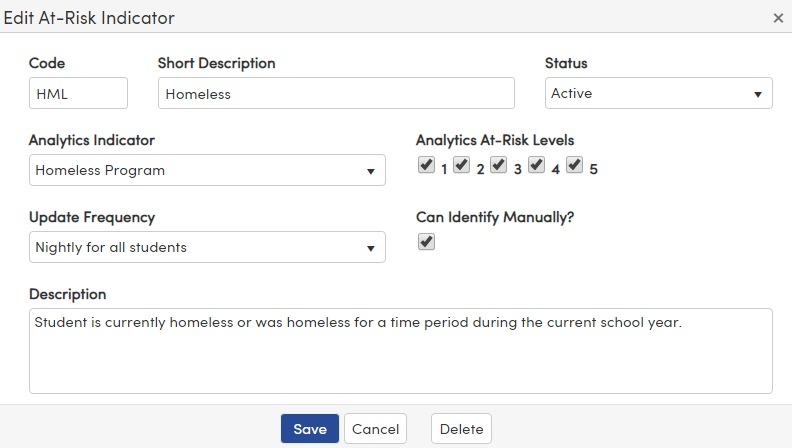 Add new At Risk Indicator options page