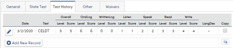 Language Assessment - Test History tab