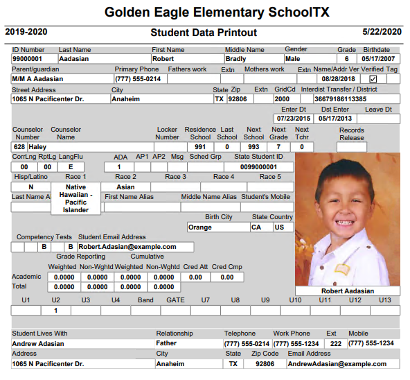 Student Data Report Daily Tx