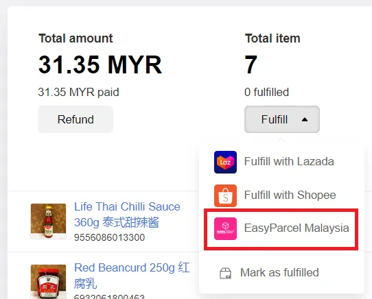 Fulfill order with Easy Parcel