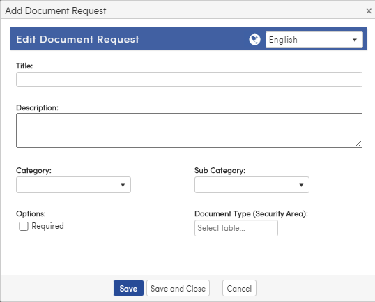 Add Document Request form