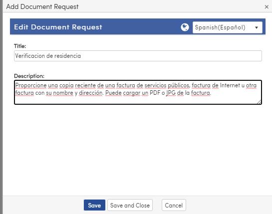 Document Request Spanish Translation