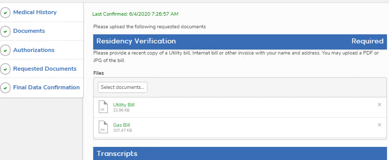 Parent view of uploaded documents