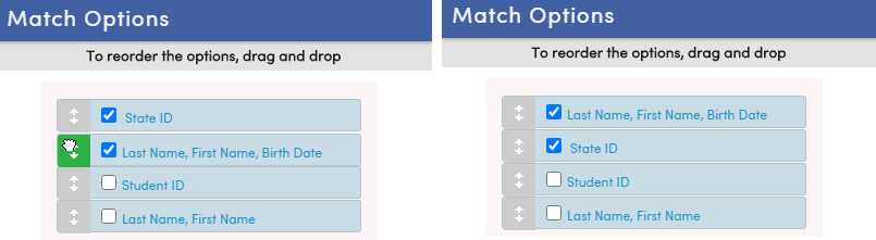 Reorder Match Options