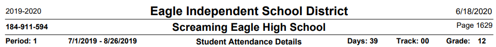 Student Attendance Detail Report Header