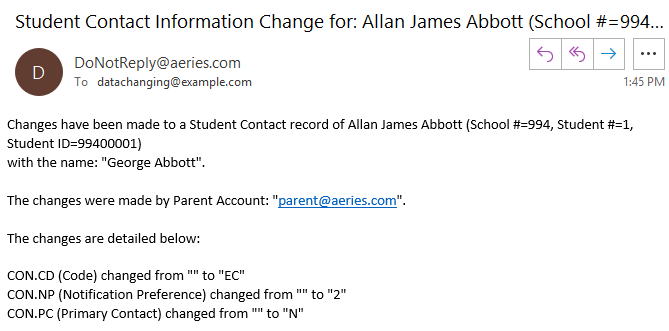 Sample email to site staff notifying of a change to a student contact