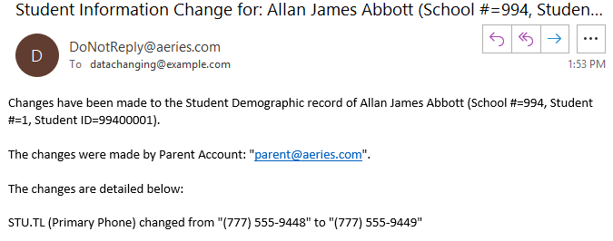 Sample email to site staff notifying of a change to student data