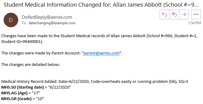 Sample email to site staff notifying of a change to a student medical information