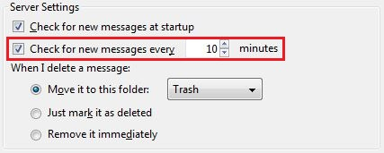 Check the Box Next to Check for New Messages and Fill in the Number of Minutes Between Checks