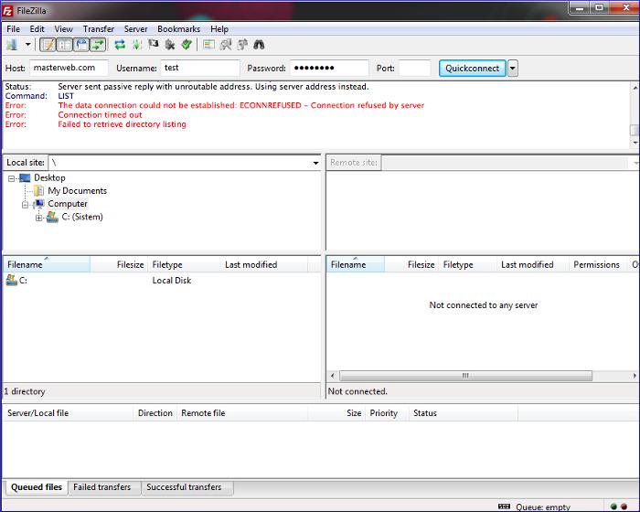 Ftp error1 My CMS
