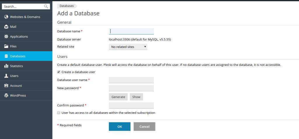 masterweb database name plesk