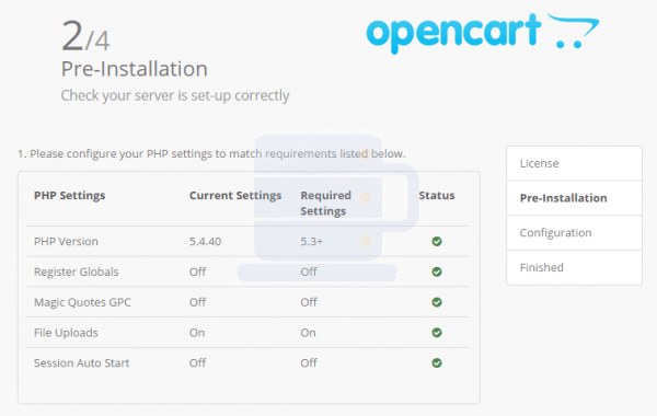 Cara install opencart step2