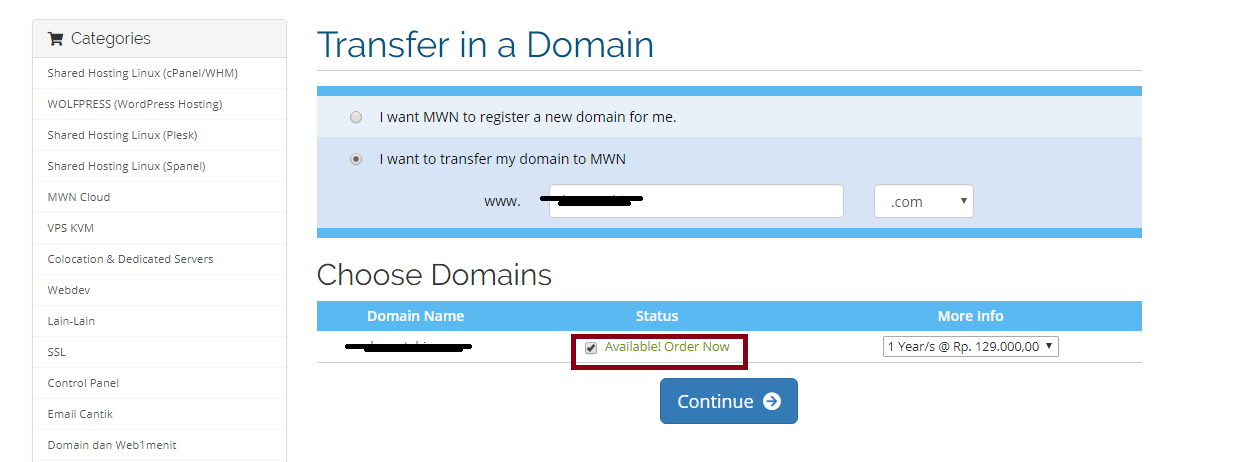 transfer domain My CMS