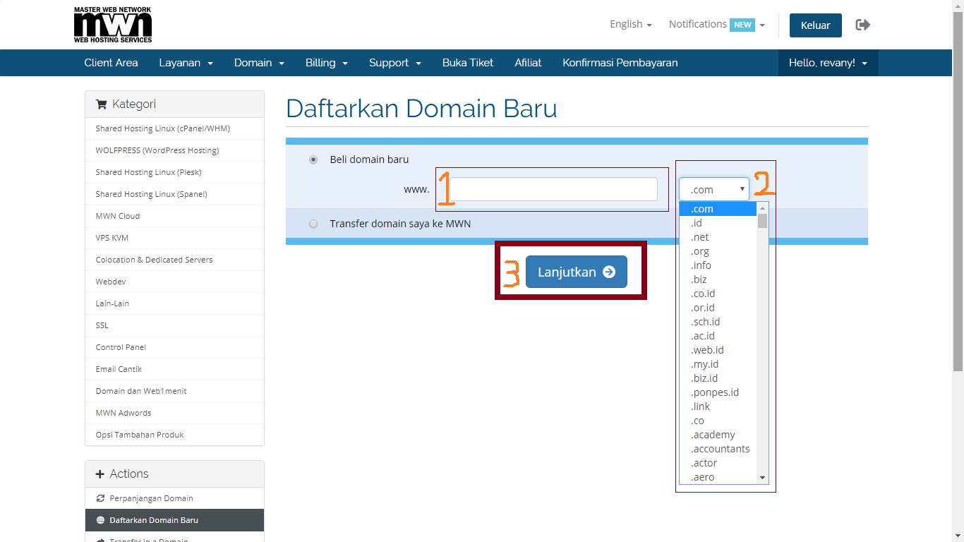pesan domain2 My CMS