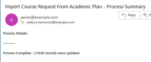Email indicating completion of process and total records updated