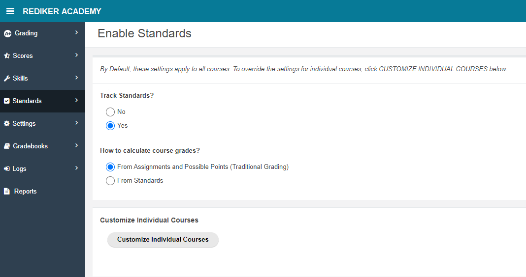 Enable Standards page