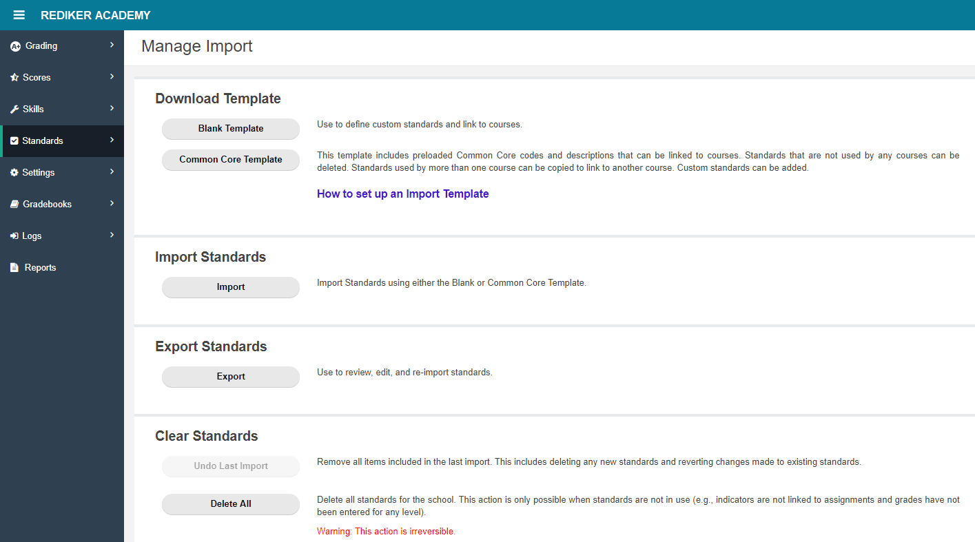 Manage Import page
