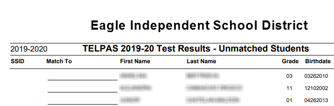 Import Test Results - Unmatched Student Report