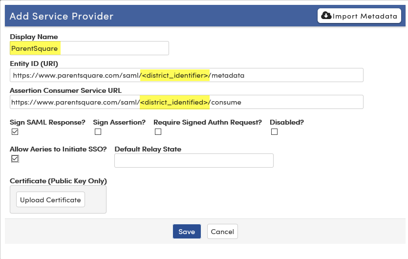 Display name, Entity IDE and Service URL