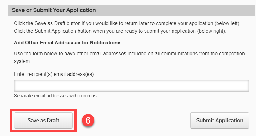 6. Save as Draft button outlined in red.