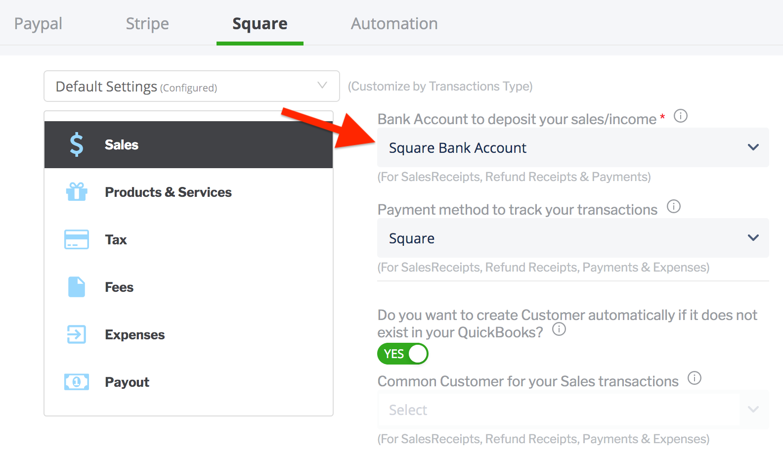 paytraqer Square Sales settings
