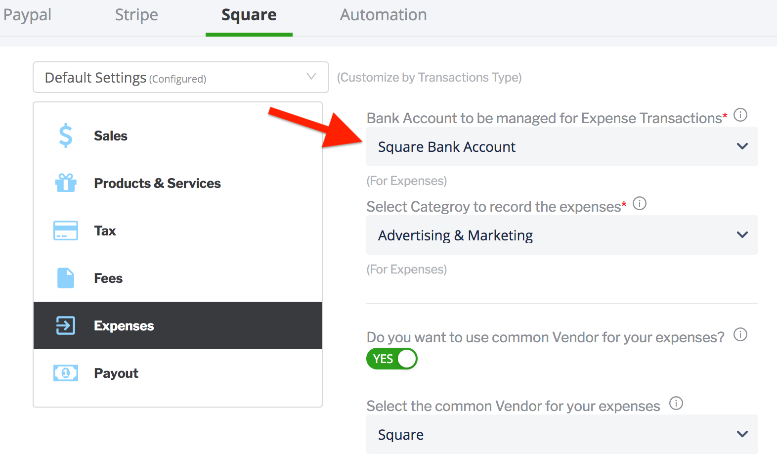 paytraqer Square Expenses settings