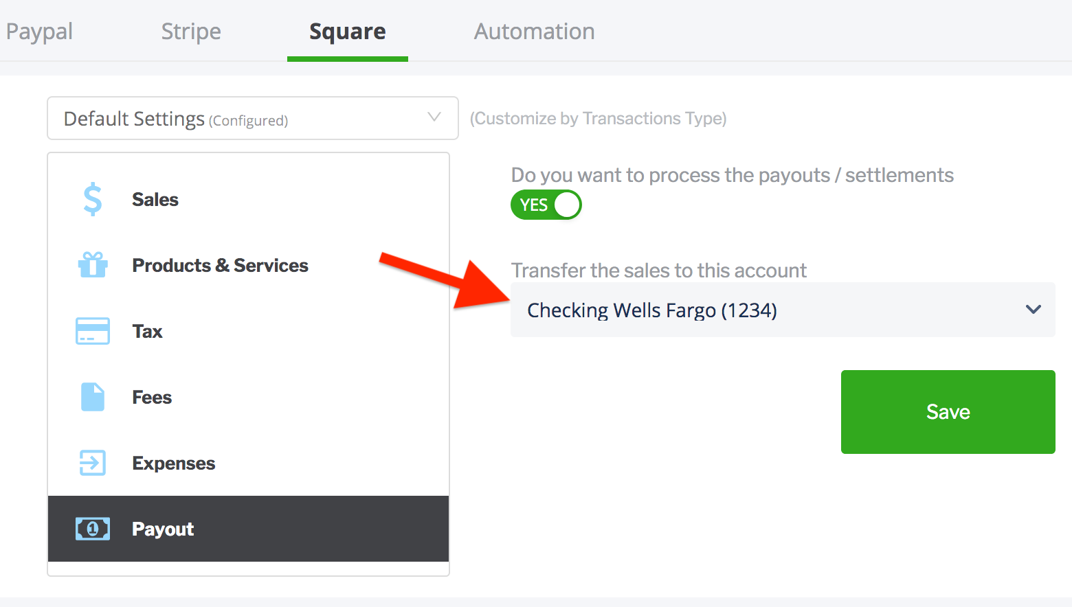 paytraqer Square Payout settings