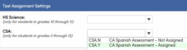 Test Settings - CSA field