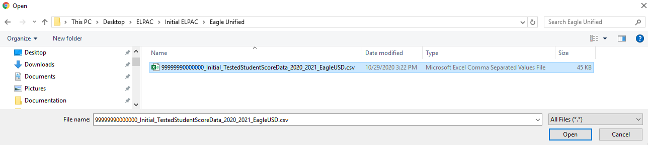 Import Test Results - select csv data file