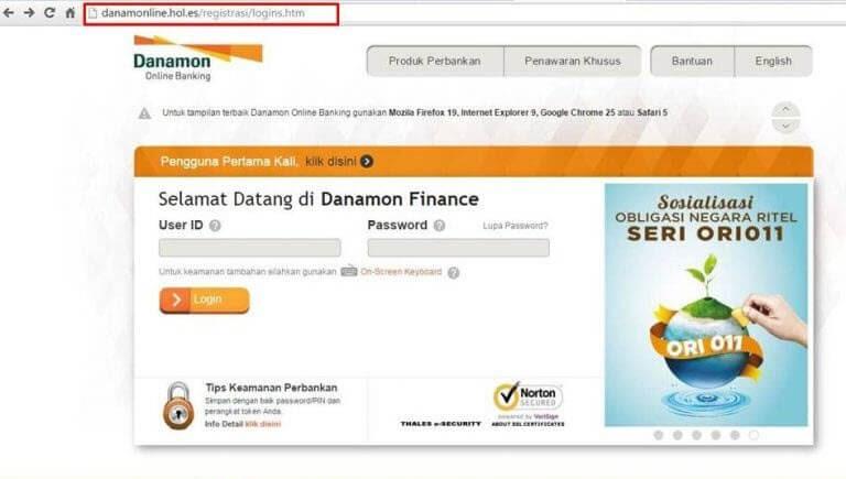 contoh phising dengan meniru website danamon