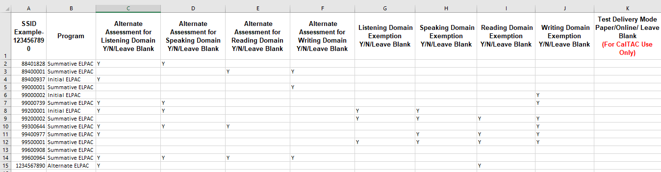 State Testing Export - ELPAC Student Test Assignment template with data