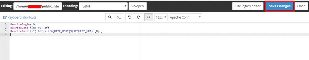 proses penambahan skrip redirect https dalam file .htaccess