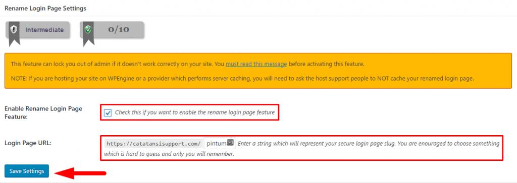 Ganti URL Login Default