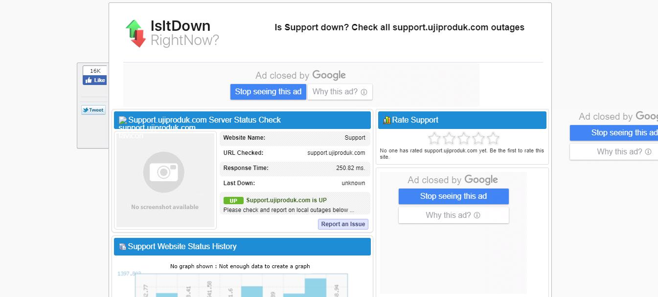 Cek website online di Isitdown.com