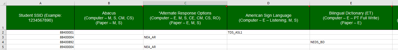 Excel - CAASPP Online Student Test Settings template with data