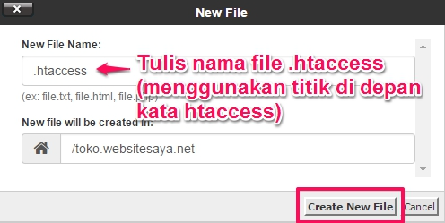 membuat file htaccess